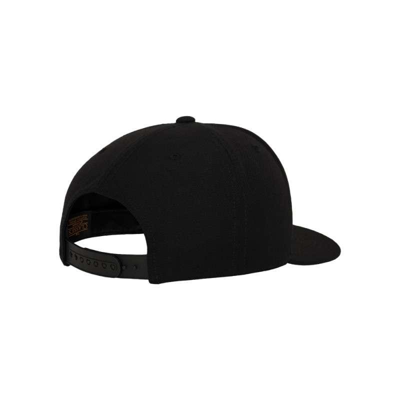 Snapback Cap Classic Schwarz 6 panneaux, ajustable Seitenansicht hinten
