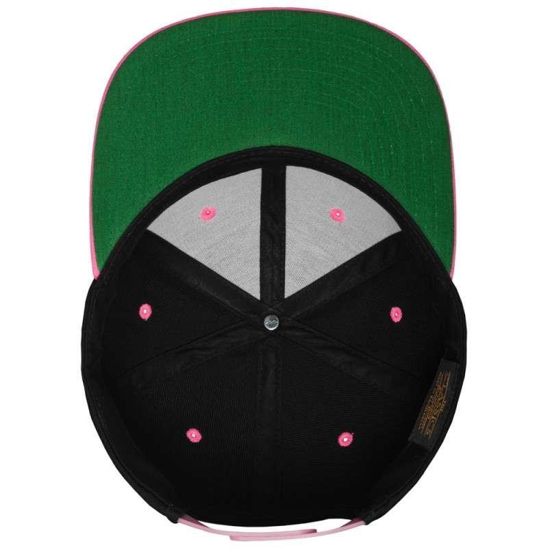 Snapback Cap Classic Schwarz/Neonpink 6 panneaux, ajustable Ansicht innen