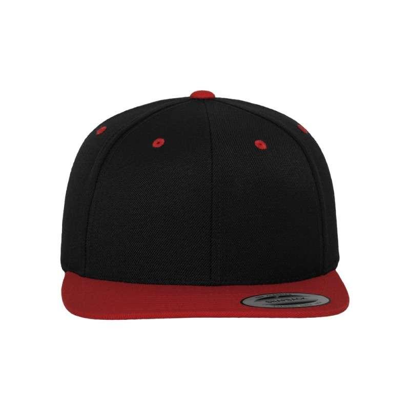 Snapback Cap Classic Schwarz/Rot 6 panneaux, ajustable Ansicht vorne