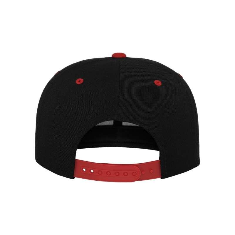 Snapback Cap Classic Schwarz/Rot 6 panneaux, ajustable Ansicht hinten