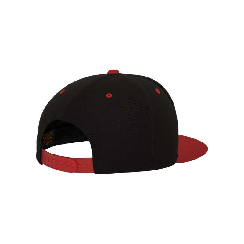 Snapback Cap Classic Schwarz/Rot 6 panneaux, ajustable Seitenansicht hinten