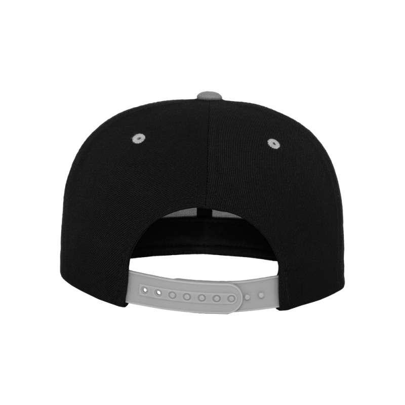 Snapback Cap Classic Schwarz/Silber 6 panneaux, ajustable Ansicht hinten