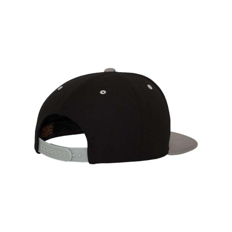 Snapback Cap Classic Schwarz/Silber 6 panneaux, ajustable Seitenansicht hinten