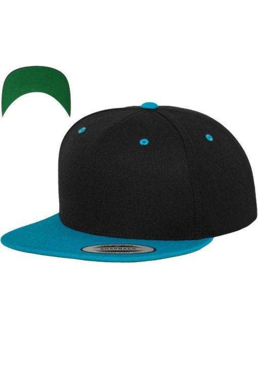 snapback-cap-classic-schwarztuerkis-6-panel-verstellbar