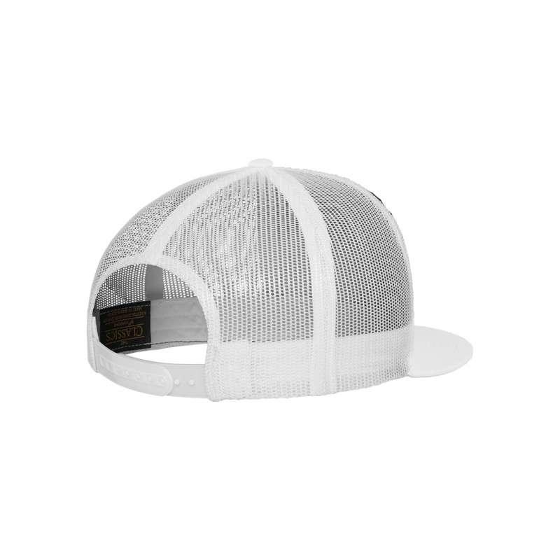 Snapback Cap Classic Trucker Weiß, ajustable Seitenansicht hinten