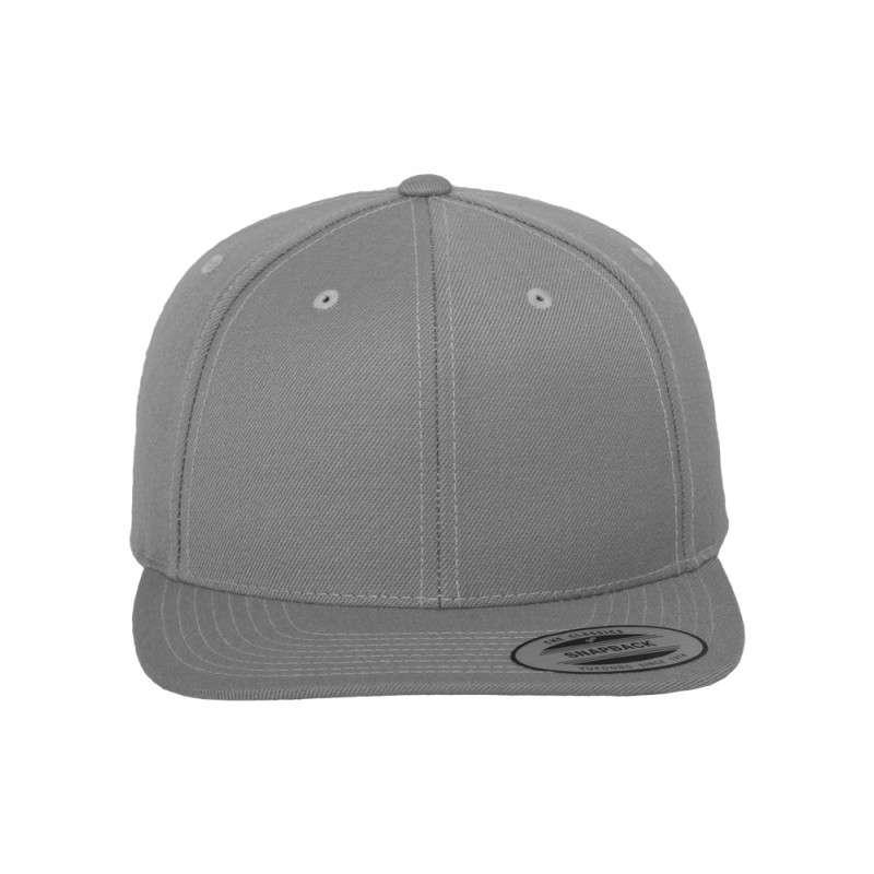 Snapback Cap Classic Silber 6 panneaux, ajustable Ansicht vorne