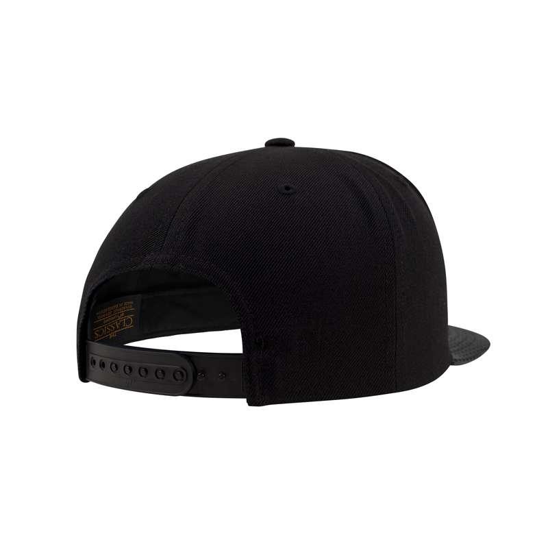 Snapback Cap Perforated Visor Schwarz verstellbar Seitenansicht hinten