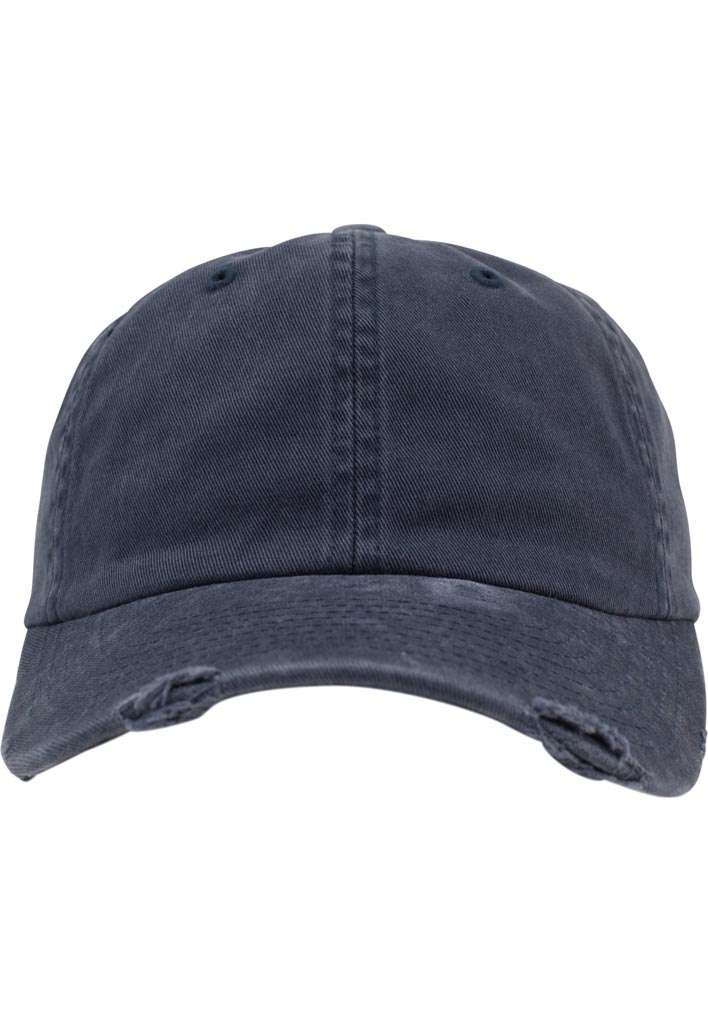 FlexFit Low Profile Destroyed Navy Cap 6 panneaux, ajustable Ansicht vorne