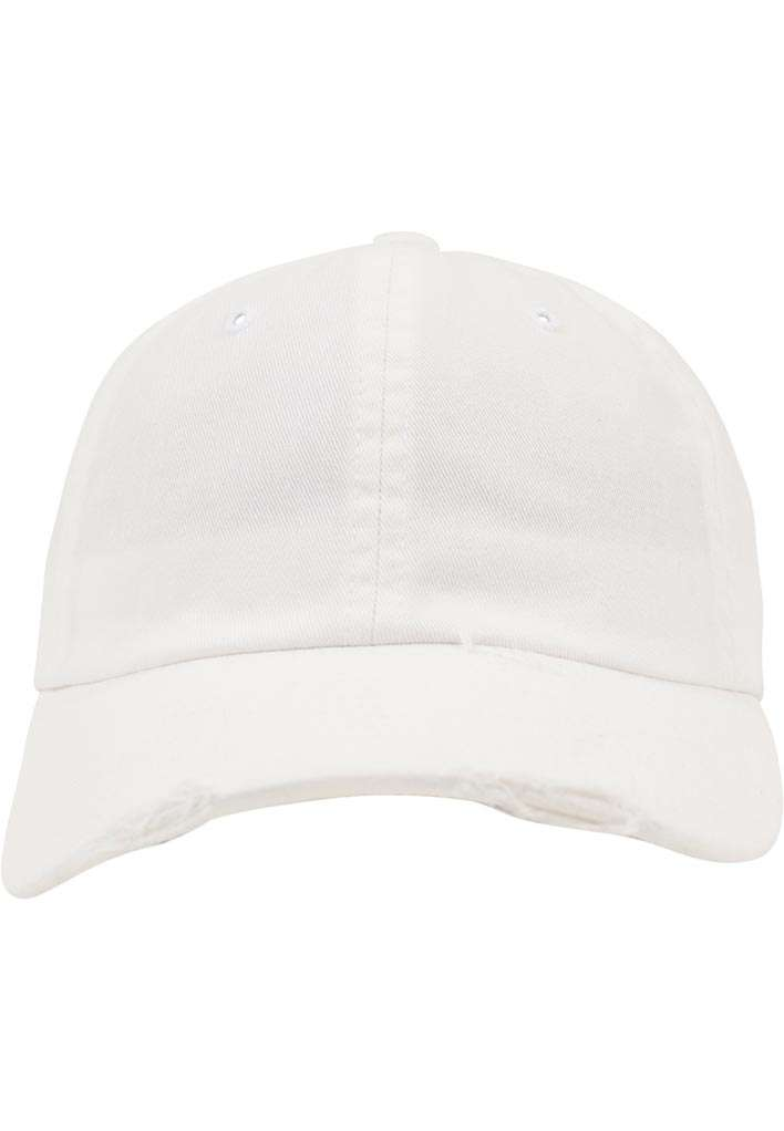 FlexFit Low Profile Destroyed Weiss Cap 6 panneaux, ajustable Ansicht vorne