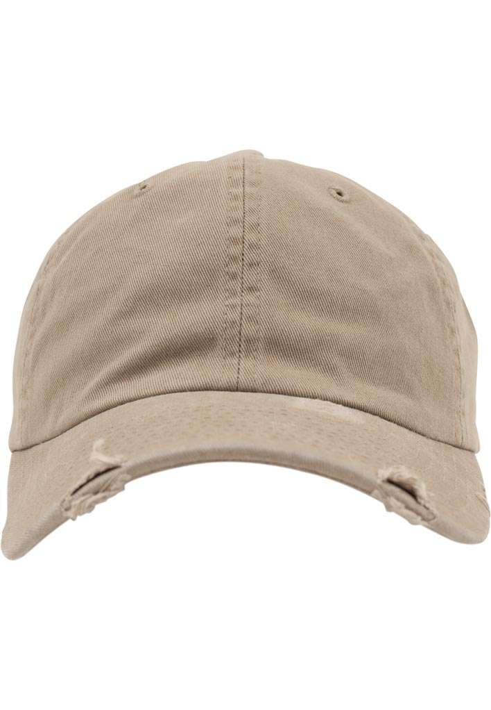 FlexFit Low Profile Destroyed Khaki Cap 6 panneaux, ajustable Ansicht vorne