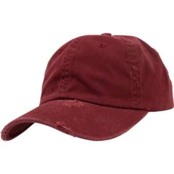 FlexFit Low Profile Destroyed Maroon Cap 6 panneaux, ajustable