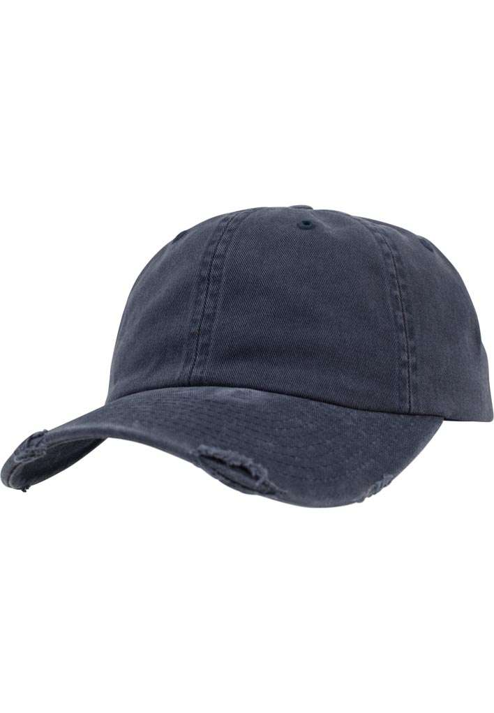 FlexFit Low Profile Destroyed Navy Cap 6 panneaux, ajustable