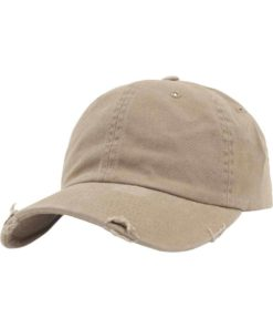 FlexFit Low Profile Destroyed Khaki Cap 6 panneaux, ajustable