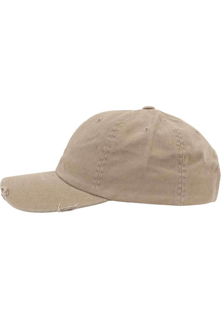 FlexFit Low Profile Destroyed Khaki Cap 6 panneaux, ajustable Seitenansicht links