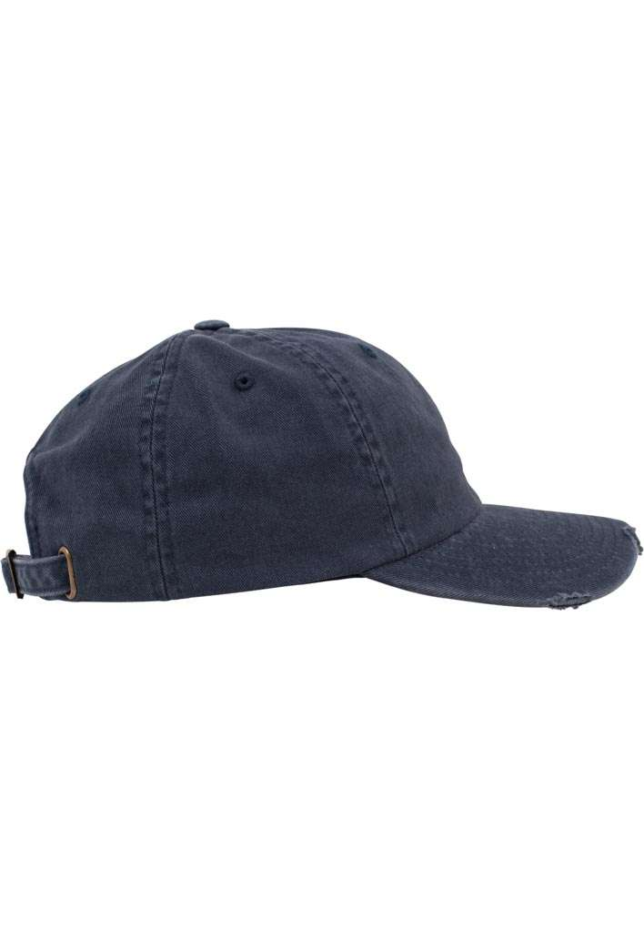 FlexFit Low Profile Destroyed Navy Cap 6 panneaux, ajustable Seitenansicht rechts
