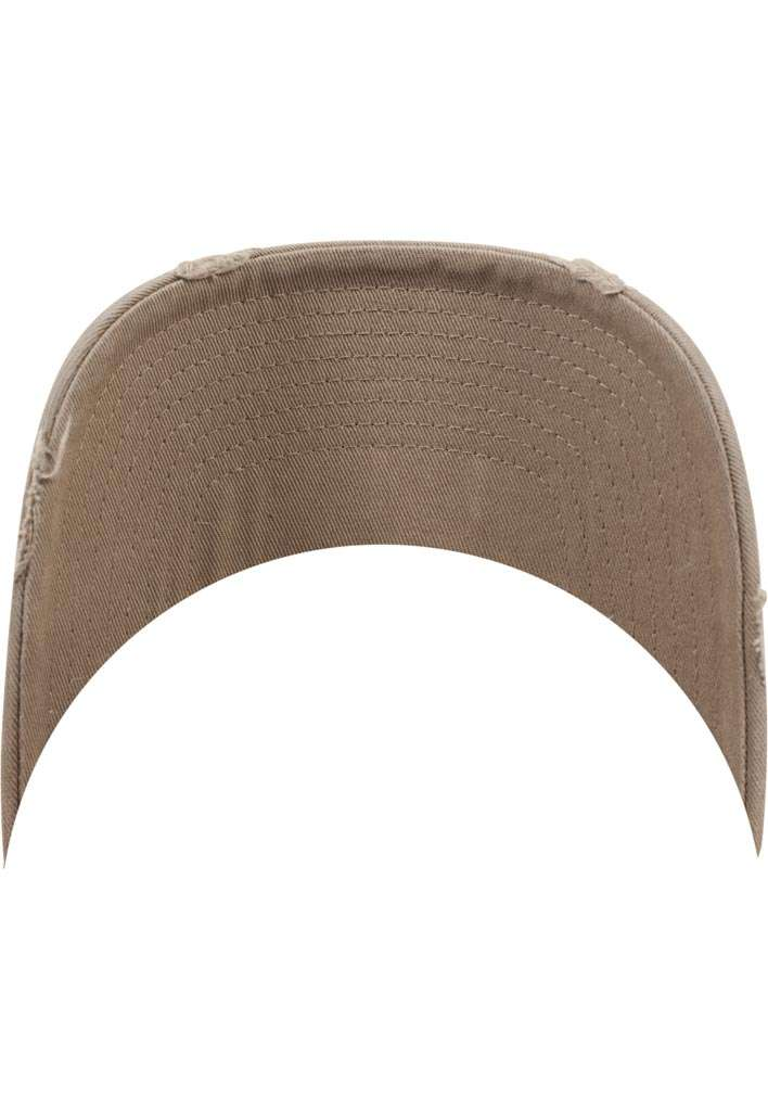 FlexFit Low Profile Destroyed Khaki Cap 6 panneaux, ajustable Ansicht Schild