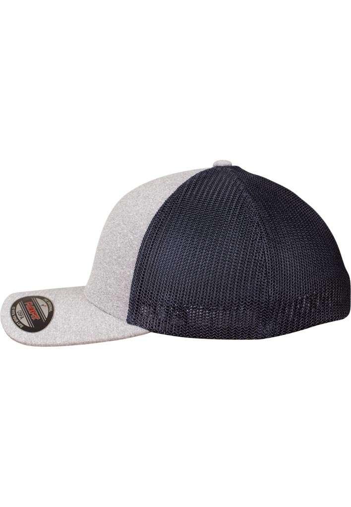 Flexfit Melange Mesh grau/dunkelblau Seitenansicht links