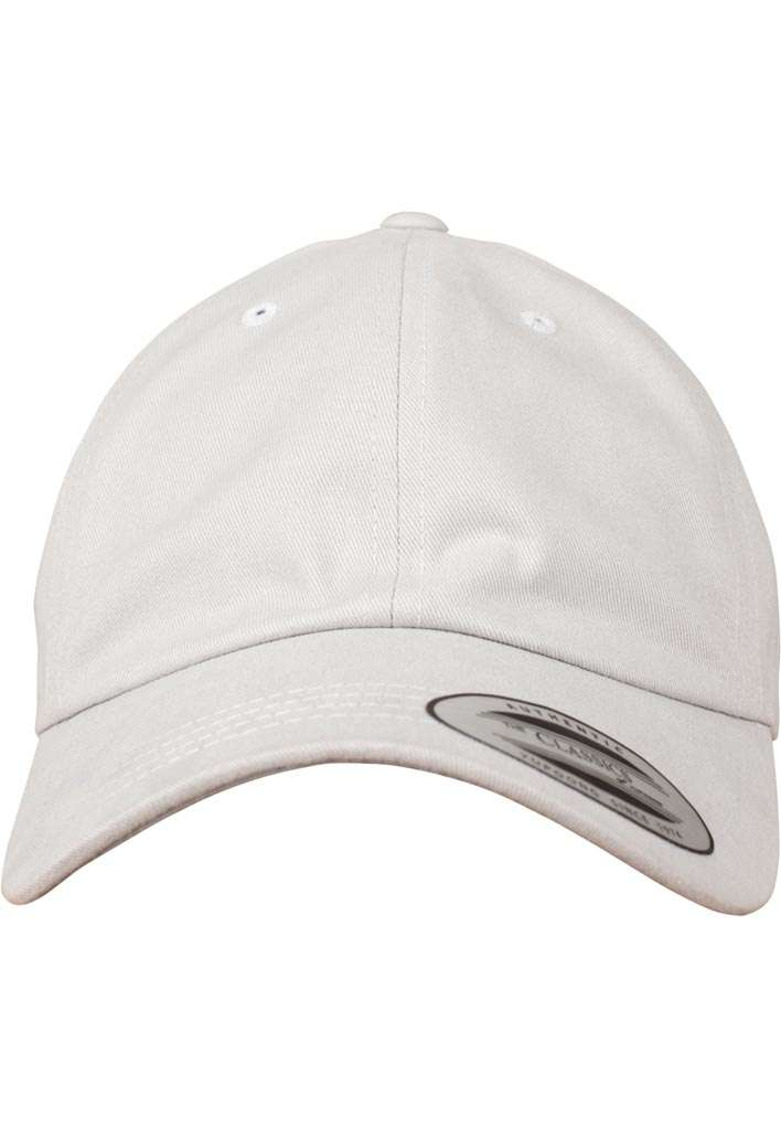FlexFit Cap Peached Cotton Twill Dad Hellgrau, ajustable Ansicht vorne