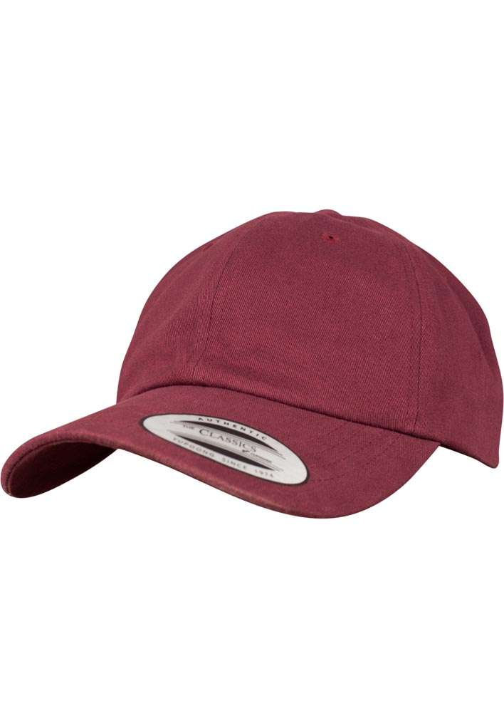 FlexFit Cap Peached Cotton Twill Dad Maroon, ajustable