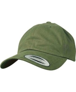 FlexFit Cap Peached Cotton Twill Dad Olive, ajustable