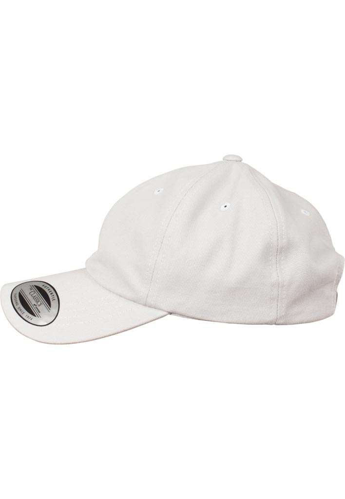FlexFit Cap Peached Cotton Twill Dad Hellgrau, ajustable Seitenansicht links
