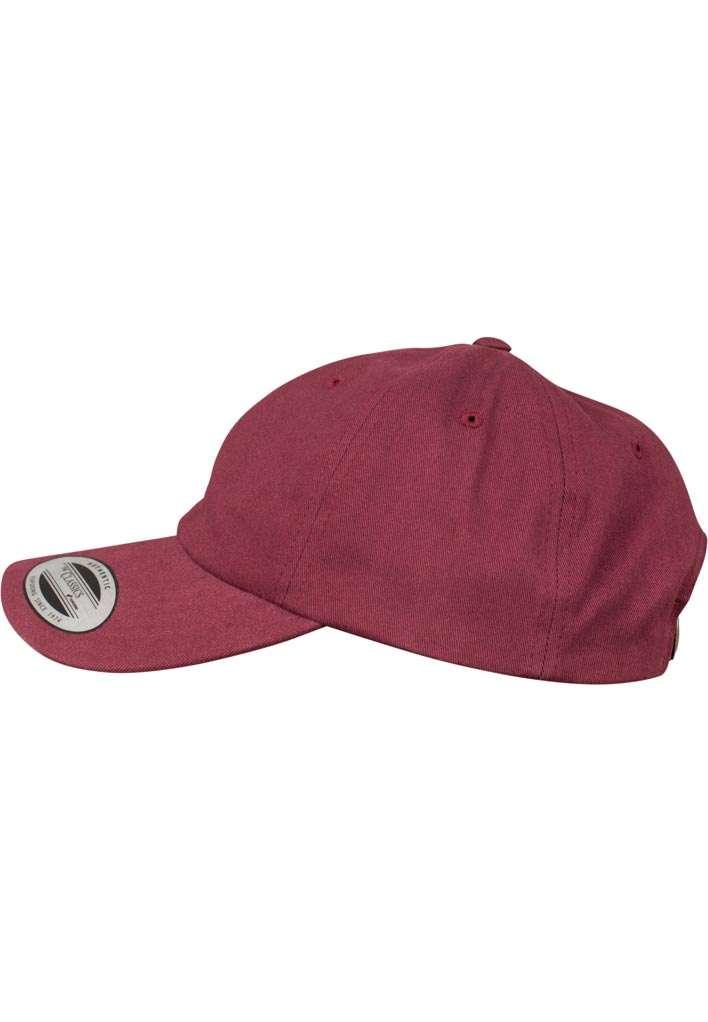FlexFit Cap Peached Cotton Twill Dad Maroon, ajustable Seitenansicht links