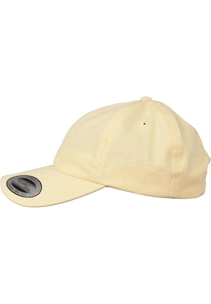 FlexFit Cap Peached Cotton Twill Dad Gelb, ajustable Seitenansicht links