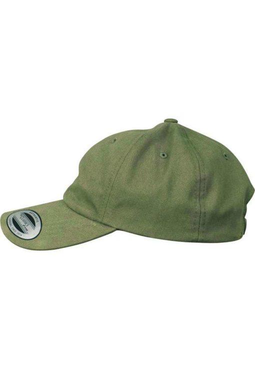FlexFit Cap Peached Cotton Twill Dad Olive, ajustable Seitenansicht links