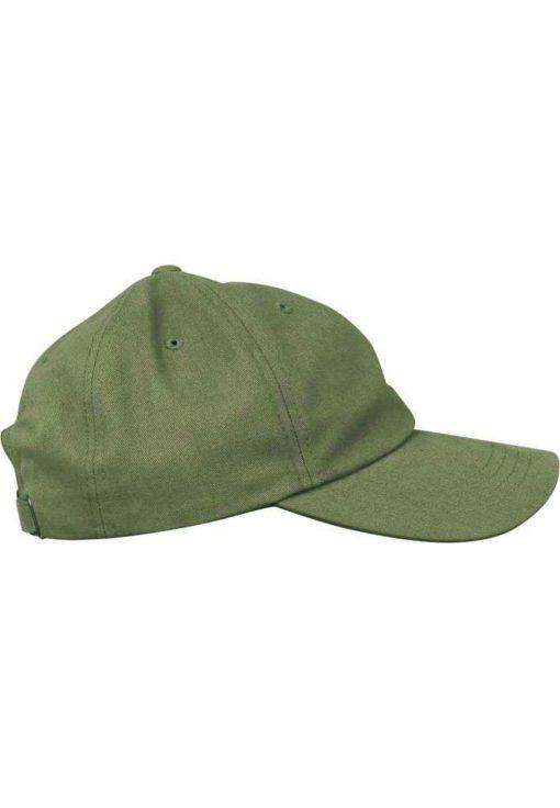 FlexFit Cap Peached Cotton Twill Dad Olive, ajustable Seitenansicht rechts