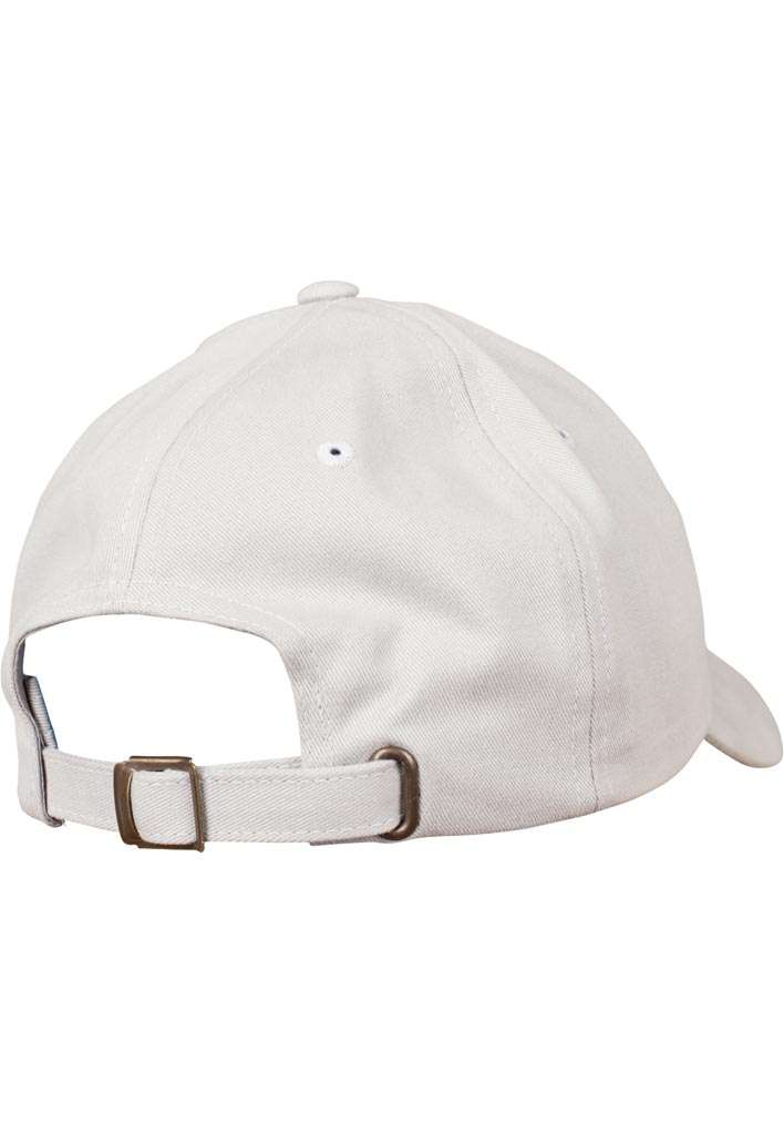 FlexFit Cap Peached Cotton Twill Dad Hellgrau, ajustable Seitenansicht hinten