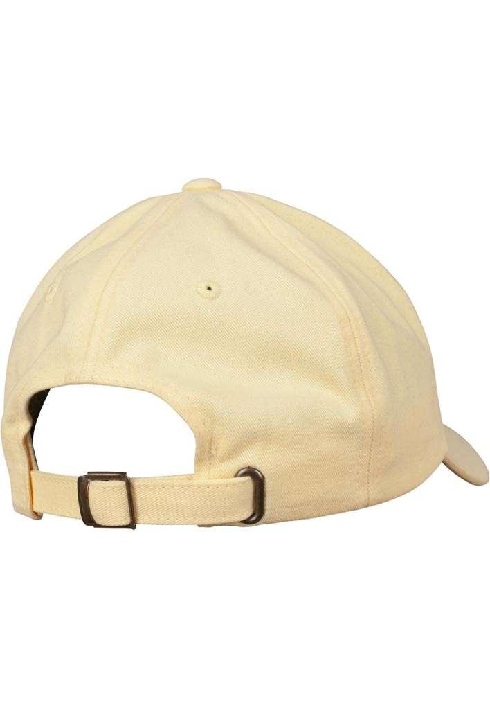 FlexFit Cap Peached Cotton Twill Dad Gelb, ajustable Seitenansicht hinten