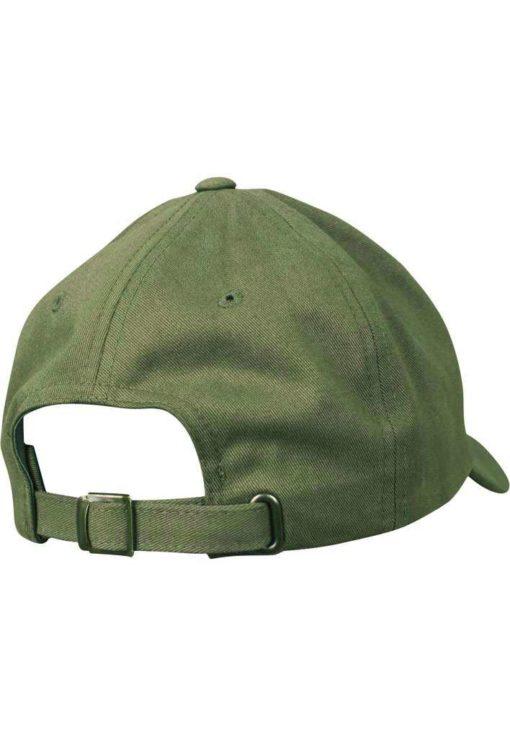 FlexFit Cap Peached Cotton Twill Dad Olive, ajustable Seitenansicht hinten
