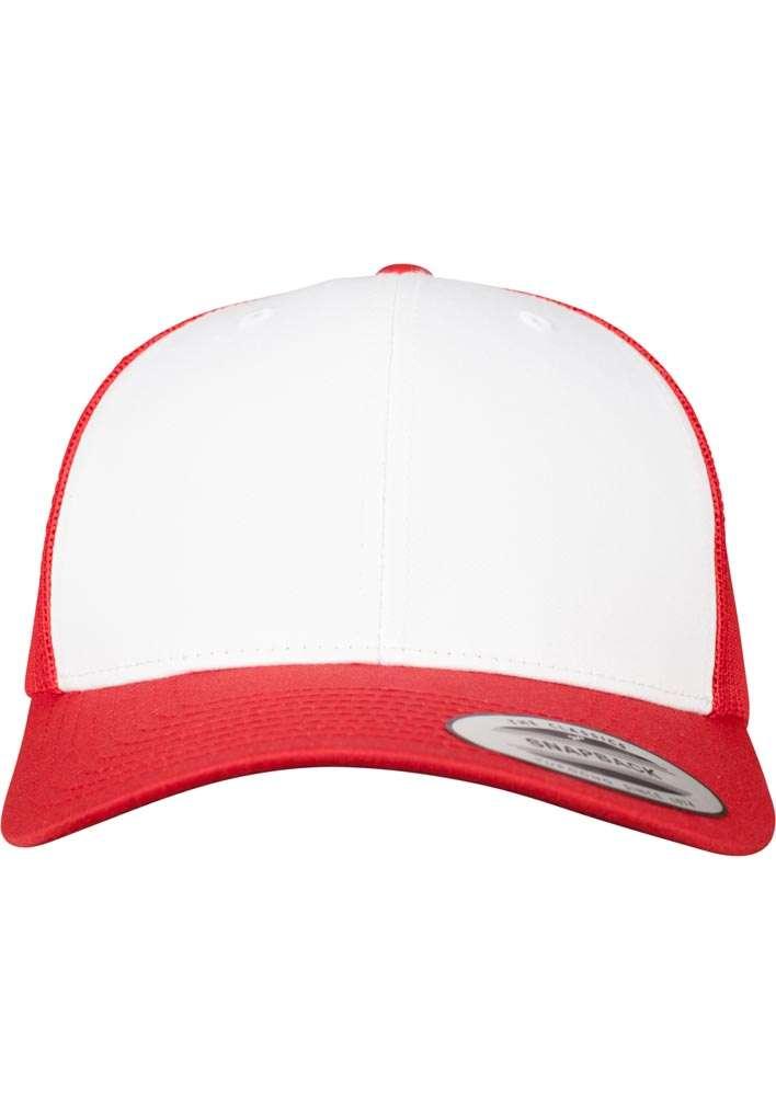 Retro Trucker Cap Colored Front Rot/Weiß/Rot, ajustable Ansicht vorne