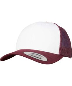 Retro Trucker Cap Colored Front Maroon/Weiß/Maroon, ajustable