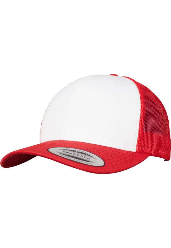 Retro Trucker Cap Colored Front Rot/Weiß/Rot, ajustable