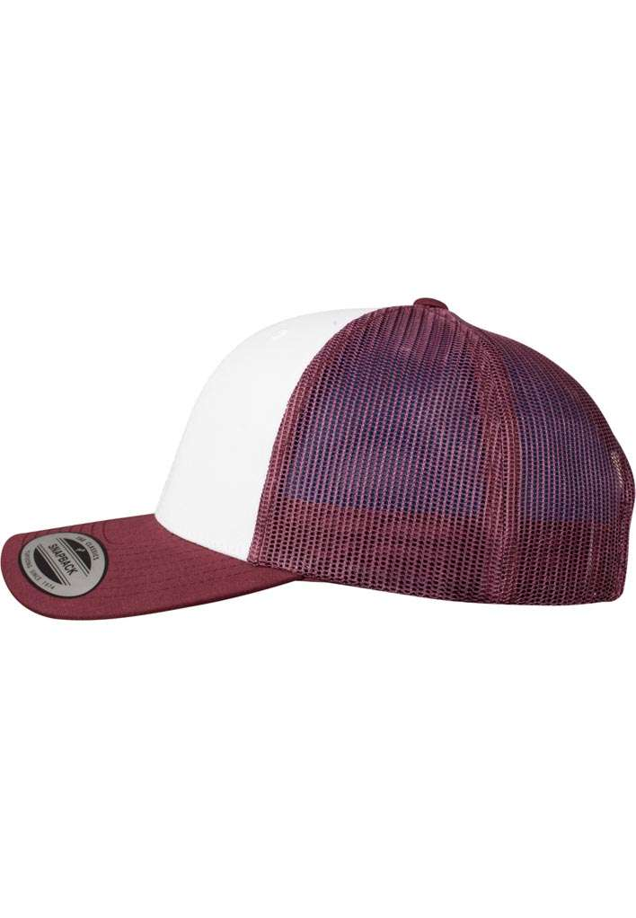 Retro Trucker Cap Colored Front Maroon/Weiß/Maroon, ajustable Seitenansicht links