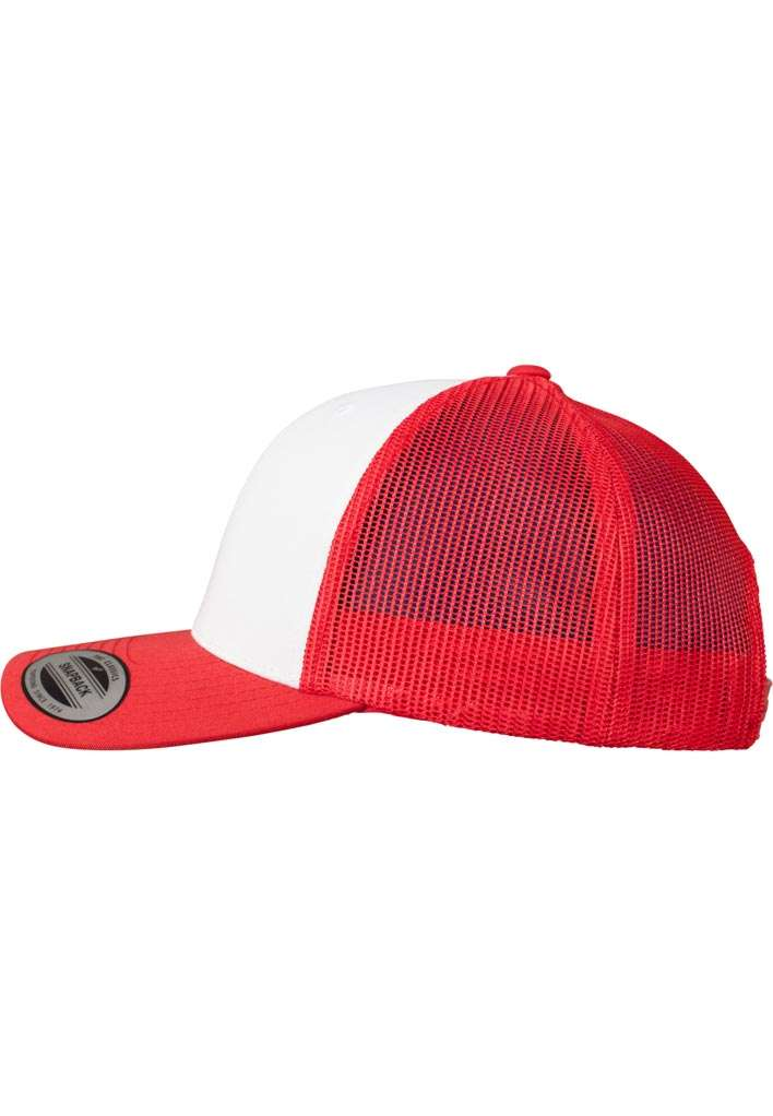 Retro Trucker Cap Colored Front Rot/Weiß/Rot, ajustable Seitenansicht links