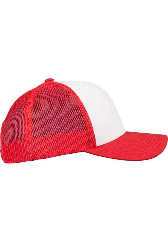 Retro Trucker Cap Colored Front Rot/Weiß/Rot, ajustable Seitenansicht rechts