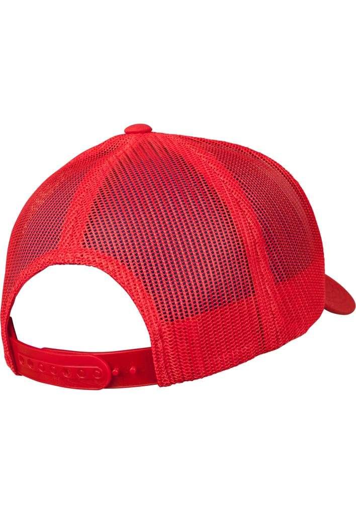 Retro Trucker Cap Colored Front Rot/Weiß/Rot, ajustable Seitenansicht hinten