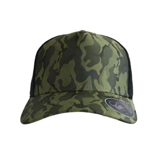 atlantis-rapper-camou-trucker-cap-olive-black-verstellbar-front